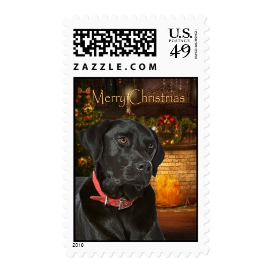 Black Lab Christmas Postage Stamp
