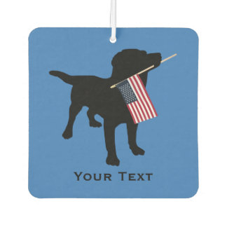 Black Lab Dog holding USA Flag, 4th of July custom Car Air Freshener