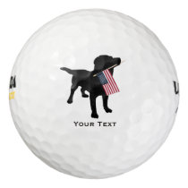Black Lab Dog holding USA Flag, 4th of July Golf Balls