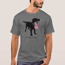 Black Lab Dog holding USA Flag, 4th of July T-Shirt