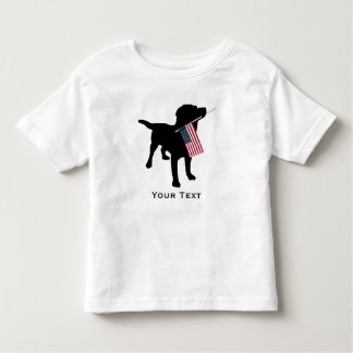 Black Lab Dog holding USA Flag, 4th of July Toddler T-shirt