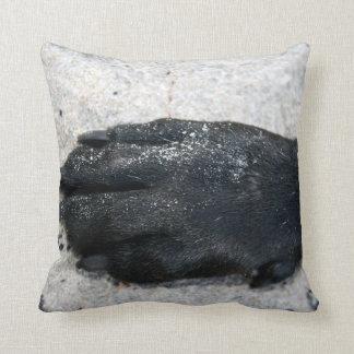 black lab dog paw animal design on sand throw pillow