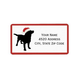 Black Lab Dog wearing Santa Christmas Hat Address Label