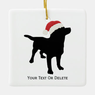 Black Lab Dog wearing Santa Christmas Hat Ceramic Ornament