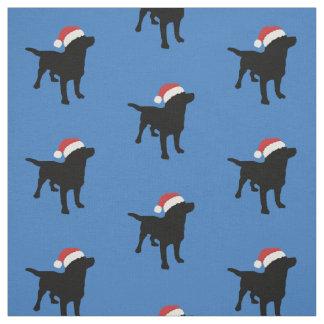 Black Lab Dog wearing Santa Christmas Hat Fabric