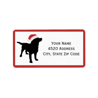 Black Lab Dog wearing Santa Christmas Hat Label