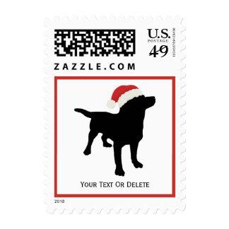 Black Lab Dog wearing Santa Christmas Hat Stamps
