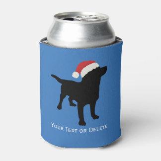 Black Lab Dog wearing Santa Claus Christmas Hat Can Cooler