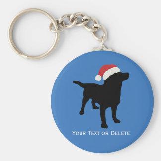 Black Lab Dog wearing Santa Claus Christmas Hat Keychain