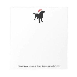 Black Lab Dog wearing Santa Claus Christmas Hat Notepad
