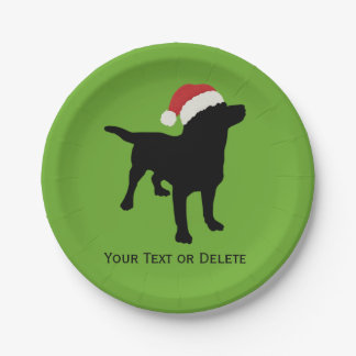 Black Lab Dog wearing Santa Claus Christmas Hat Paper Plate