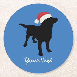 Black Lab Dog wearing Santa Claus Christmas Hat Round Paper Coaster