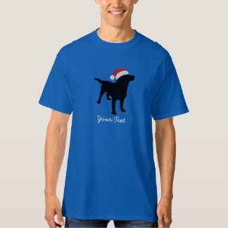 Black Lab Dog wearing Santa Claus Christmas Hat T-Shirt