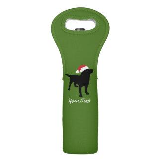 Black Lab Dog wearing Santa Claus Christmas Hat Wine Bag
