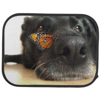BLack Lab Dog With Butterfly Car Floor Mat