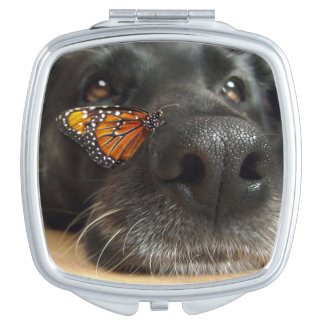 BLack Lab Dog With Butterfly Makeup Mirror