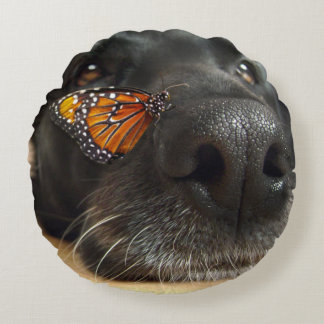 BLack Lab Dog With Butterfly Round Pillow