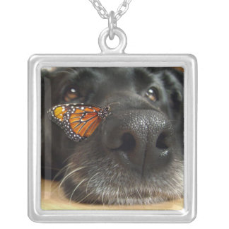 BLack Lab Dog With Butterfly Square Pendant Necklace