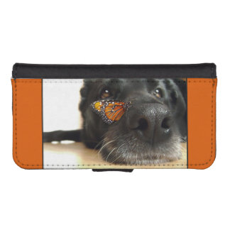 BLack Lab Dog With Butterfly Wallet Phone Case For iPhone SE/5/5s