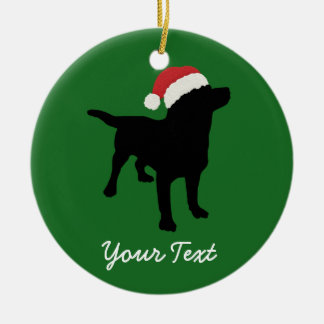 Black Lab Dog with Christmas Santa Hat Ceramic Ornament