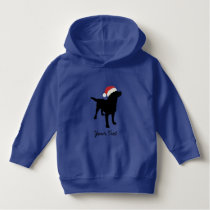 Black Lab Dog with Christmas Santa Hat Hoodie