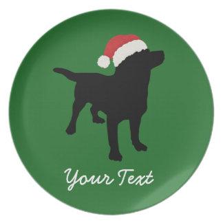 Black Lab Dog with Christmas Santa Hat Melamine Plate