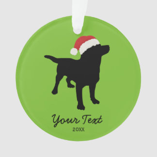 Black Lab Dog with Christmas Santa Hat Ornament