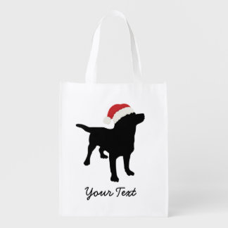 Black Lab Dog with Christmas Santa Hat Reusable Grocery Bag