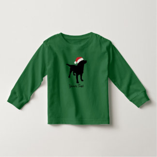 Black Lab Dog with Christmas Santa Hat Toddler T-shirt