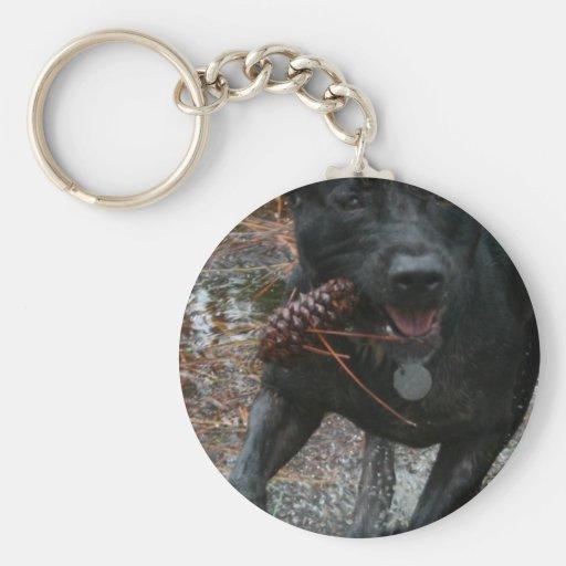 Black Lab Dog with Pinecone running Basic Round Button Keychain