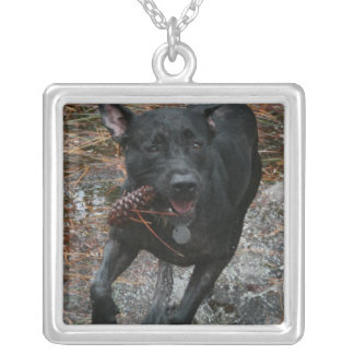 Black Lab Dog with Pinecone running Silver Plated Necklace