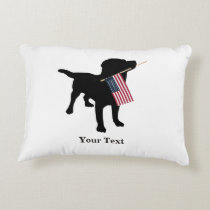 Black Lab Dog with USA American Flag, 4th of July Accent Pillow