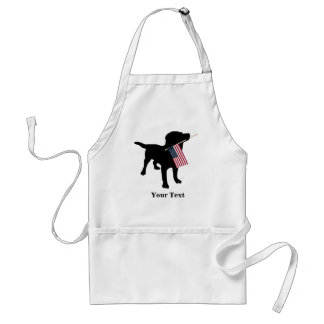 Black Lab Dog with USA American Flag, 4th of July Adult Apron