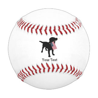 Black Lab Dog with USA American Flag, 4th of July Baseball