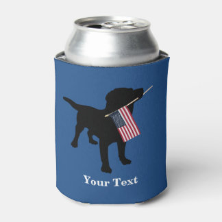 Black Lab Dog with USA American Flag, 4th of July Can Cooler
