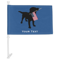 Black Lab Dog with USA American Flag, 4th of July Car Flag