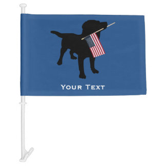 Black Lab Dog with USA American Flag, 4th of July Car Flag