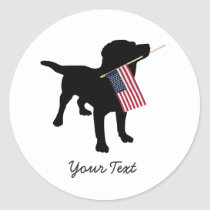 Black Lab Dog with USA American Flag, 4th of July Classic Round Sticker