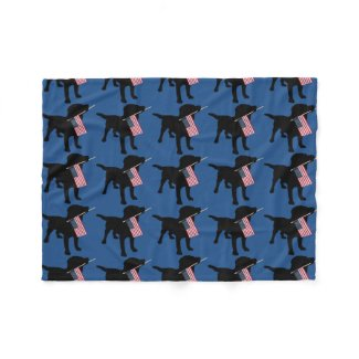 Black Lab Dog with USA American Flag, 4th of July Fleece Blanket