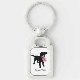 Black Lab Dog with USA American Flag, 4th of July Keychain