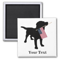Black Lab Dog with USA American Flag, 4th of July Magnet
