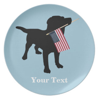 Black Lab Dog with USA American Flag, 4th of July Melamine Plate