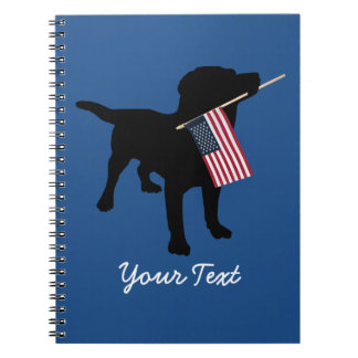 Black Lab Dog with USA American Flag, 4th of July Spiral Notebook