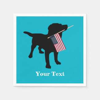Black Lab Dog with USA American Flag, 4th of July Paper Napkin