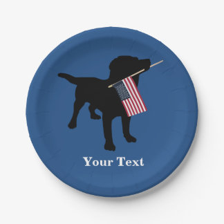 Black Lab Dog with USA American Flag, 4th of July Paper Plate