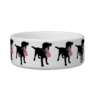 Black Lab Dog with USA American Flag, 4th of July Cat Water Bowls