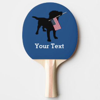 Black Lab Dog with USA American Flag, 4th of July Ping Pong Paddle