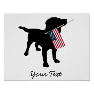 Black Lab Dog with USA American Flag, 4th of July Poster