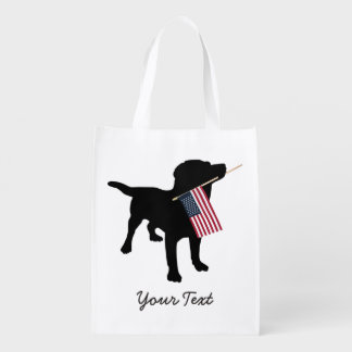 Black Lab Dog with USA American Flag, 4th of July Reusable Grocery Bag