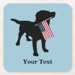 """Black Lab Dog with USA American Flag, 4th of July Square Paper Coaster<br><div class=""""desc"""">A black labrador retriever dog silhouette holds a USA American flag in it&#39;s mouth ready for the 4th of July or other patriotic celebration. Add your own text - &quot;Happy 4th of July&quot; or your dog&#39;s name or delete. This makes a cute, festive design for a 4th of July party...</div>"""